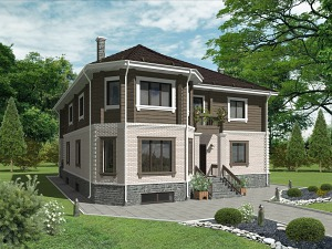 Проект дома с цокольным этажом № 017
