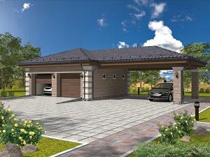 Проект гаража с навесом № 021